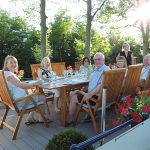 Dining on deck in the sunshine
