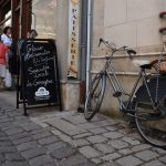 Bicycle outside Boulangerie basket bread